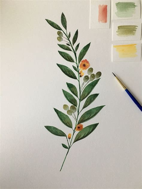 Olive Branch Watercolor Flowers with Buds by CoastToCoastArtist on Etsy | 만다라