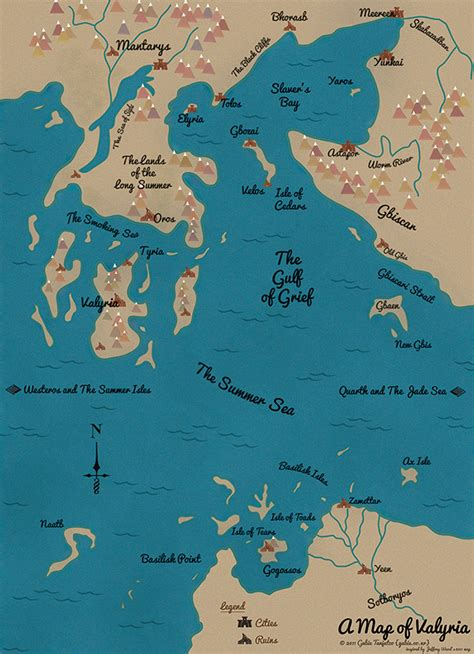 A Map of Valyria, Essos-A Song of Ice & Fire on Behance