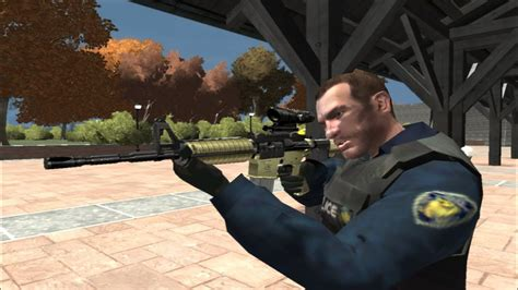 GRAND THEFT AUTO IV: NYPD NIKO TACTICAL POLICE + M4A1
