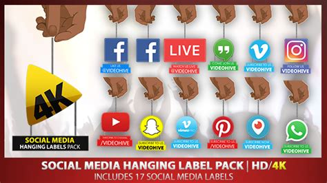 Social Media Hanging Label Pack | HD 4K by criticalfilm